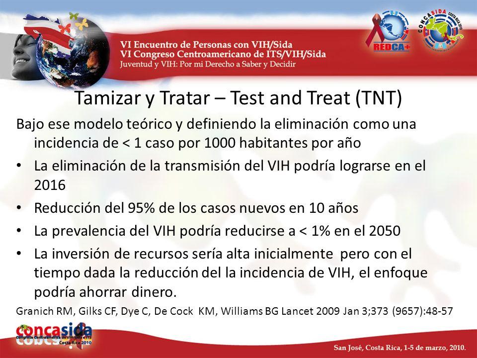 Tamizar y Tratar – Test and Treat (TNT) Bajo ese modelo teórico y definiendo la eliminación como una incidencia de < 1 caso por 1000 habitantes por añ