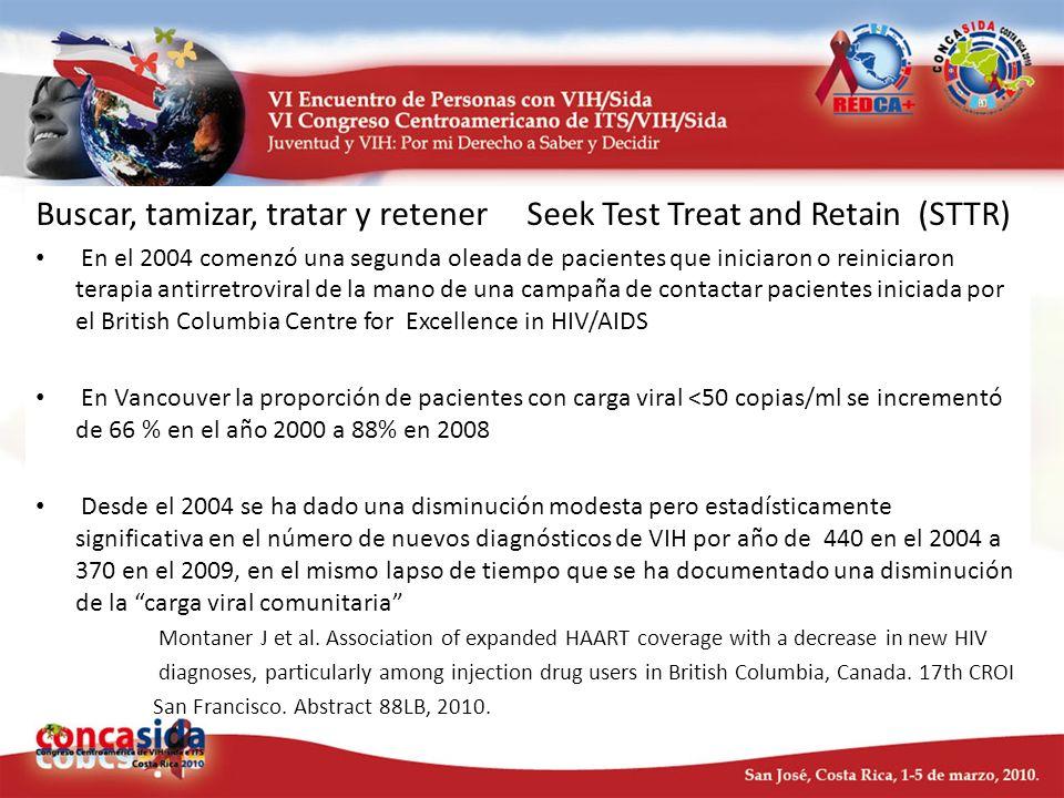 Buscar, tamizar, tratar y retener Seek Test Treat and Retain (STTR) En el 2004 comenzó una segunda oleada de pacientes que iniciaron o reiniciaron ter