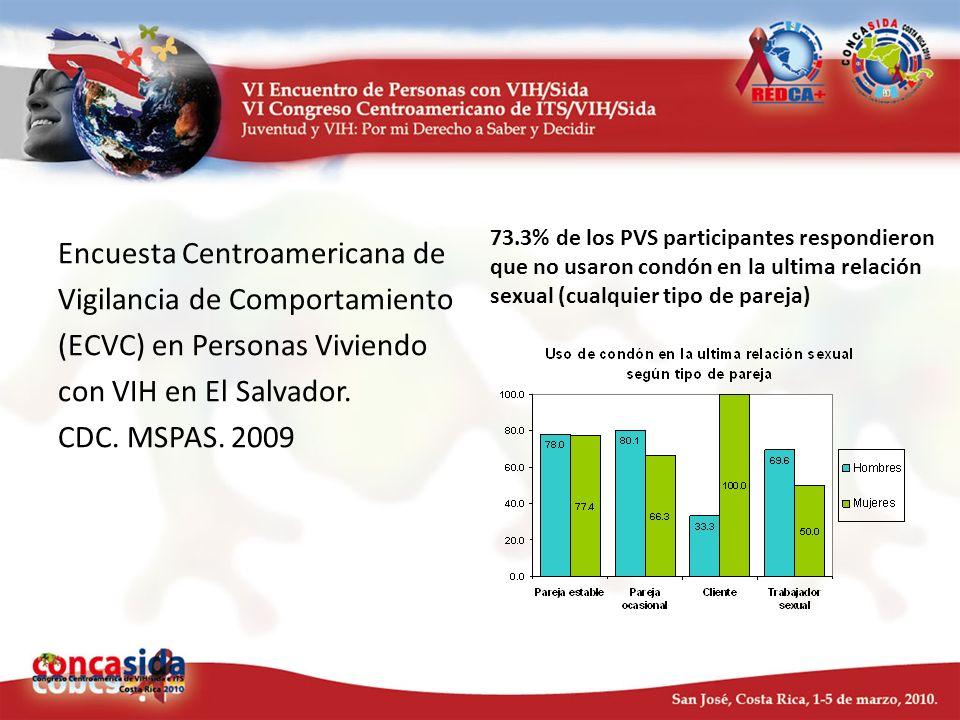 Encuesta Centroamericana de Vigilancia de Comportamiento (ECVC) en Personas Viviendo con VIH en El Salvador. CDC. MSPAS. 2009 73.3% de los PVS partici