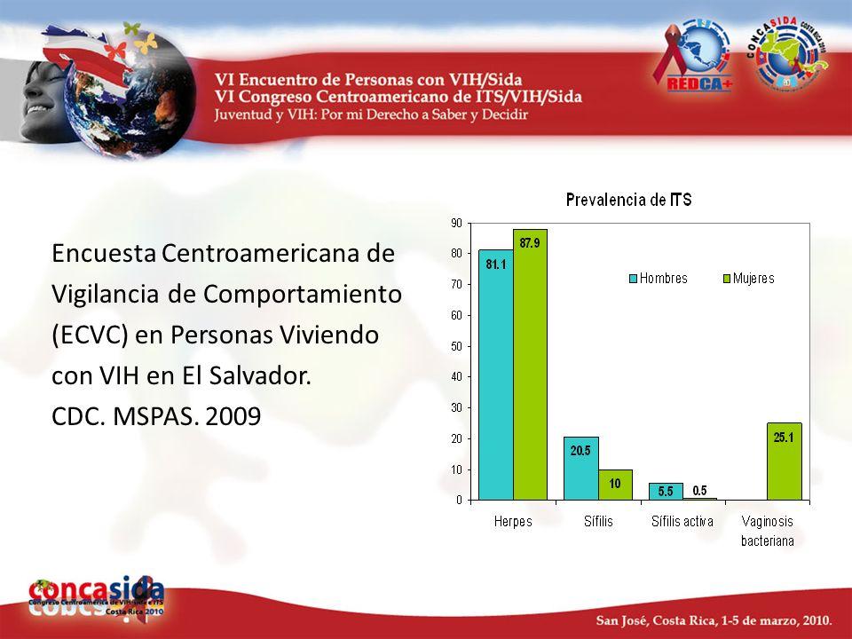 Encuesta Centroamericana de Vigilancia de Comportamiento (ECVC) en Personas Viviendo con VIH en El Salvador. CDC. MSPAS. 2009