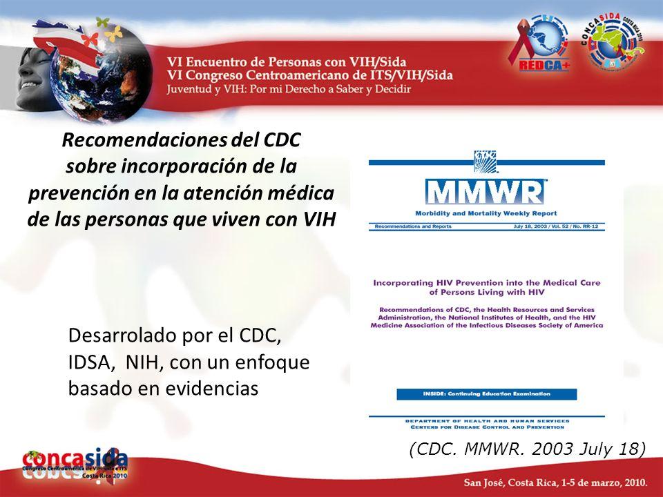 Recomendaciones del CDC sobre incorporación de la prevención en la atención médica de las personas que viven con VIH Desarrolado por el CDC, IDSA, NIH
