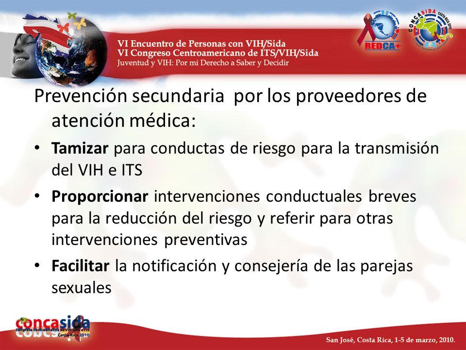 Prevención secundaria por los proveedores de atención médica: Tamizar para conductas de riesgo para la transmisión del VIH e ITS Proporcionar interven