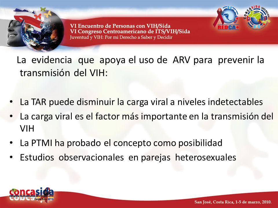 La evidencia que apoya el uso de ARV para prevenir la transmisión del VIH: La TAR puede disminuir la carga viral a niveles indetectables La carga vira