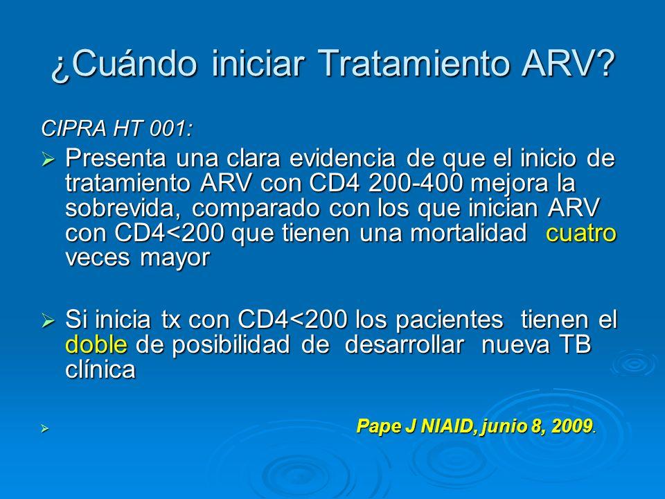 ¿Cuándo iniciar Tratamiento ARV? CIPRA HT 001: Presenta una clara evidencia de que el inicio de tratamiento ARV con CD4 200-400 mejora la sobrevida, c