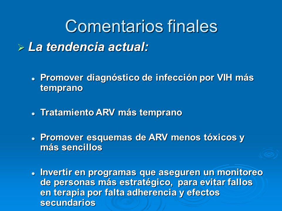 Comentarios finales La tendencia actual: La tendencia actual: Promover diagnóstico de infección por VIH más temprano Promover diagnóstico de infección