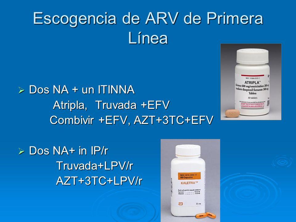 Escogencia de ARV de Primera Línea Dos NA + un ITINNA Dos NA + un ITINNA Atripla, Truvada +EFV Atripla, Truvada +EFV Combivir +EFV, AZT+3TC+EFV Combiv