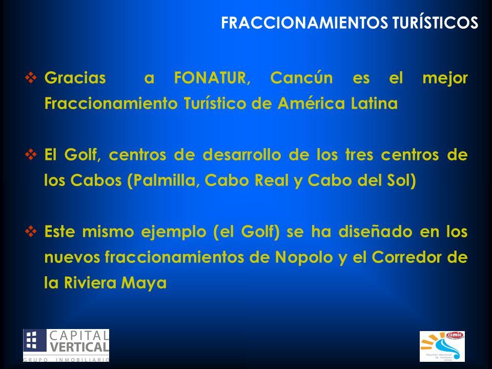 FRACCIONAMIENTOS TURÍSTICOS Gracias a FONATUR, Cancún es el mejor Fraccionamiento Turístico de América Latina El Golf, centros de desarrollo de los tr