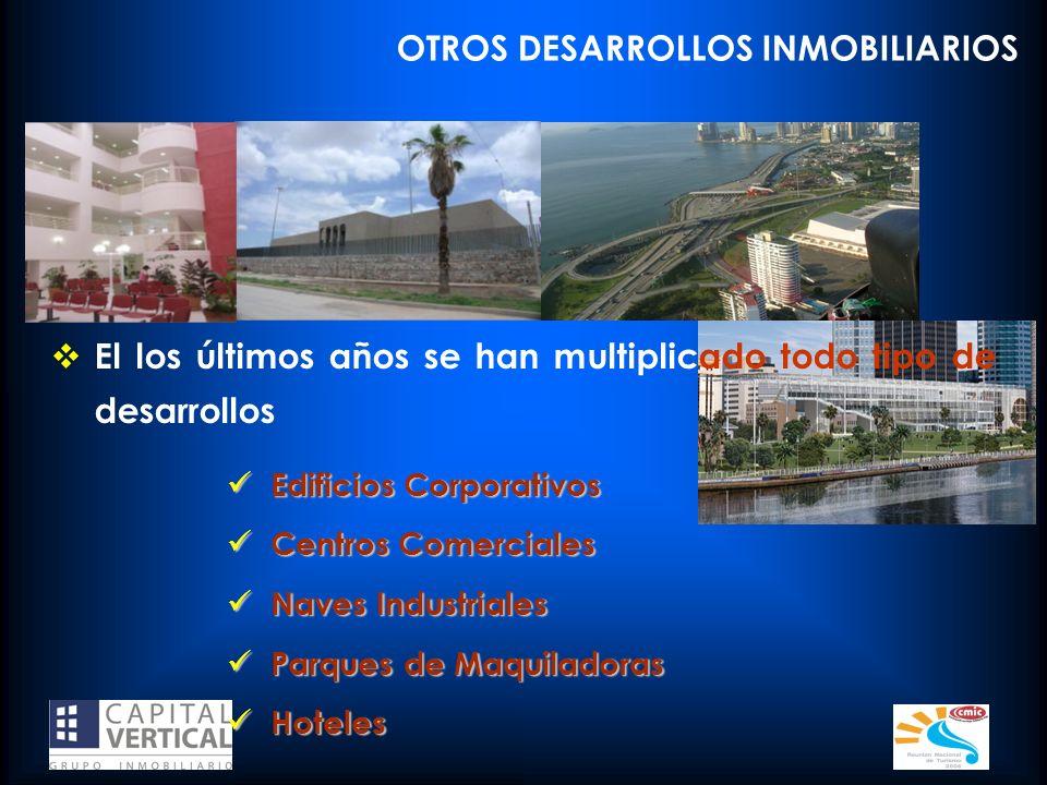 OTROS DESARROLLOS INMOBILIARIOS El los últimos años se han multiplicado todo tipo de desarrollos Edificios Corporativos Edificios Corporativos Centros