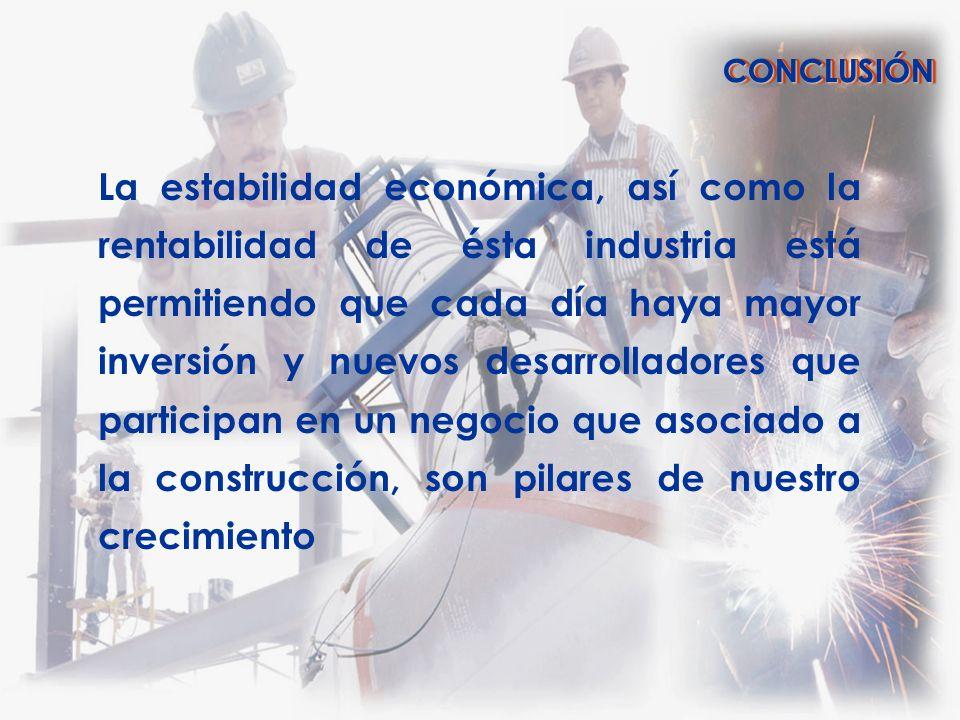 La estabilidad económica, así como la rentabilidad de ésta industria está permitiendo que cada día haya mayor inversión y nuevos desarrolladores que p
