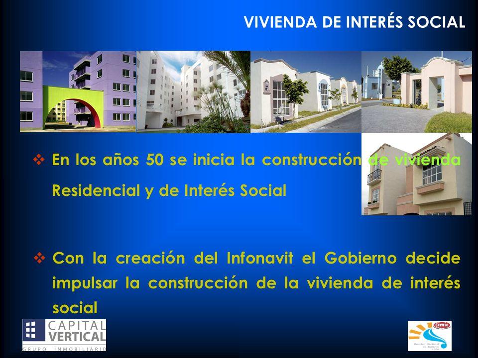 VIVIENDA DE INTERÉS SOCIAL En los años 50 se inicia la construcción de vivienda Residencial y de Interés Social Con la creación del Infonavit el Gobie