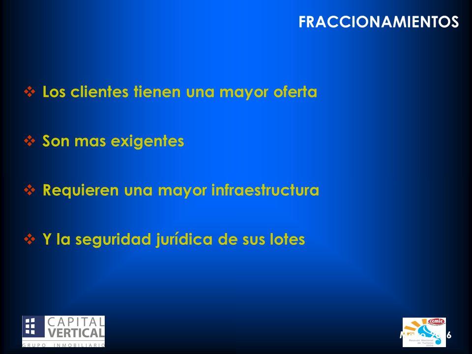 Mayo, 2006 Los clientes tienen una mayor oferta Son mas exigentes Requieren una mayor infraestructura Y la seguridad jurídica de sus lotes FRACCIONAMI