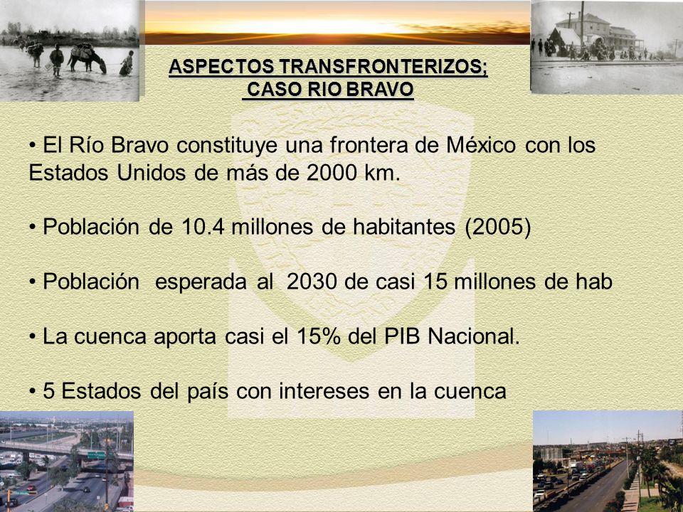 El Río Bravo constituye una frontera de México con los Estados Unidos de más de 2000 km.