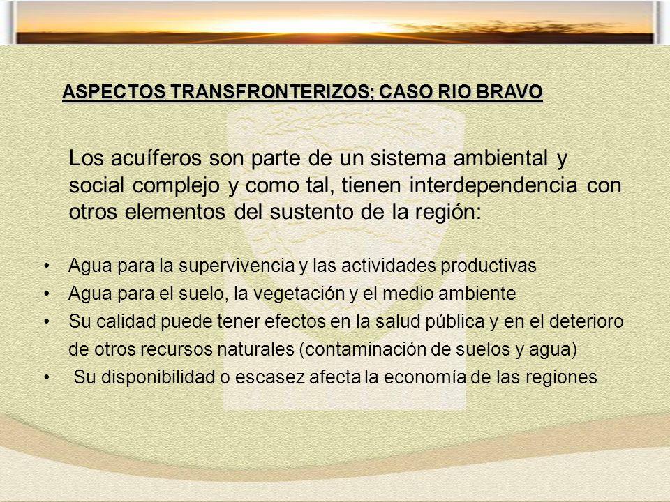Los acuíferos son parte de un sistema ambiental y social complejo y como tal, tienen interdependencia con otros elementos del sustento de la región: Agua para la supervivencia y las actividades productivas Agua para el suelo, la vegetación y el medio ambiente Su calidad puede tener efectos en la salud pública y en el deterioro de otros recursos naturales (contaminación de suelos y agua) Su disponibilidad o escasez afecta la economía de las regiones ASPECTOS TRANSFRONTERIZOS; CASO RIO BRAVO