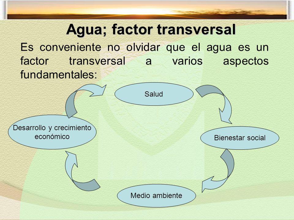 Es conveniente no olvidar que el agua es un factor transversal a varios aspectos fundamentales: Desarrollo y crecimiento económico Bienestar social Salud Medio ambiente Agua; factor transversal