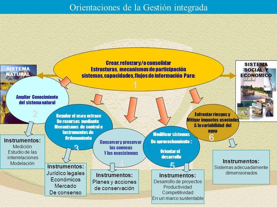 SISTEMA SOCIAL Y ECONOMICO SISTEMA NATURAL Ampliar Conocimiento del sistema natural Regular el uso y extracc De recursos mediante Mecanismos de control e Instrumentos de Ordenamiento Conservar y preservar las cuencas Y los ecosistemas Crear, reforzar y/o consolidar Estructuras, mecanismos de participación sistemas, capacidades, flujos de información Para: Orientaciones de la Gestión integrada2 3 4 1 Modificar sistemas De aprovechamiento : Orientar el desarrollo Enfrentar riesgos y Mitigar impactos asociados A la variabilidad del agua 6 5 Instrumentos: Jurídico legales Económicos Mercado De consenso Instrumentos: Planes y acciones de conservación Instrumentos: Desarrollo de proyectos Productividad Competitividad En un marco sustentable Instrumentos: Sistemas adecuadamente dimensionados Instrumentos: Medición Estudio de las interrelaciones Modelación