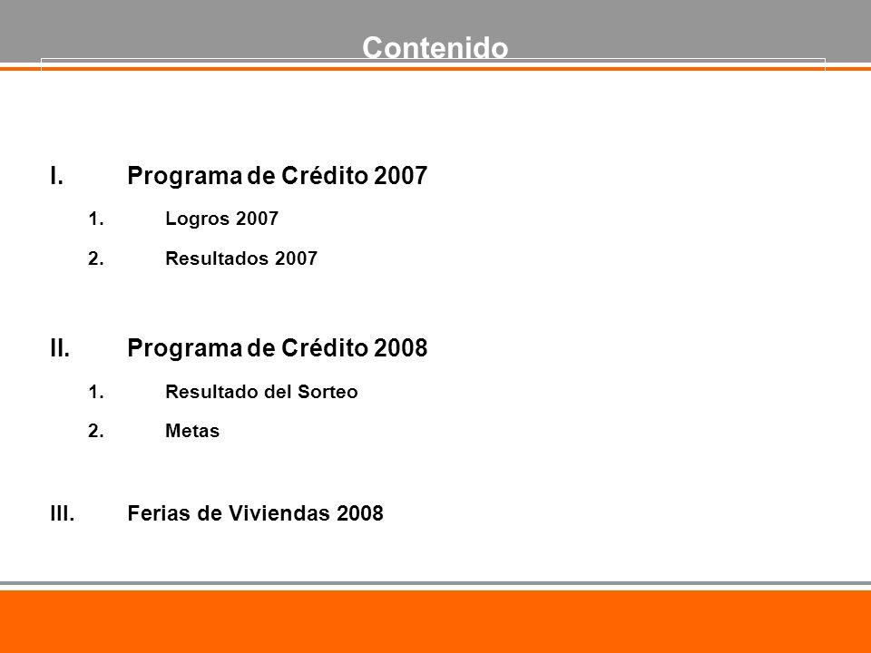 I.Programa de Crédito 2007 1.Logros 2007 2.Resultados 2007 II.Programa de Crédito 2008 1.Resultado del Sorteo 2.Metas III.Ferias de Viviendas 2008 Contenido