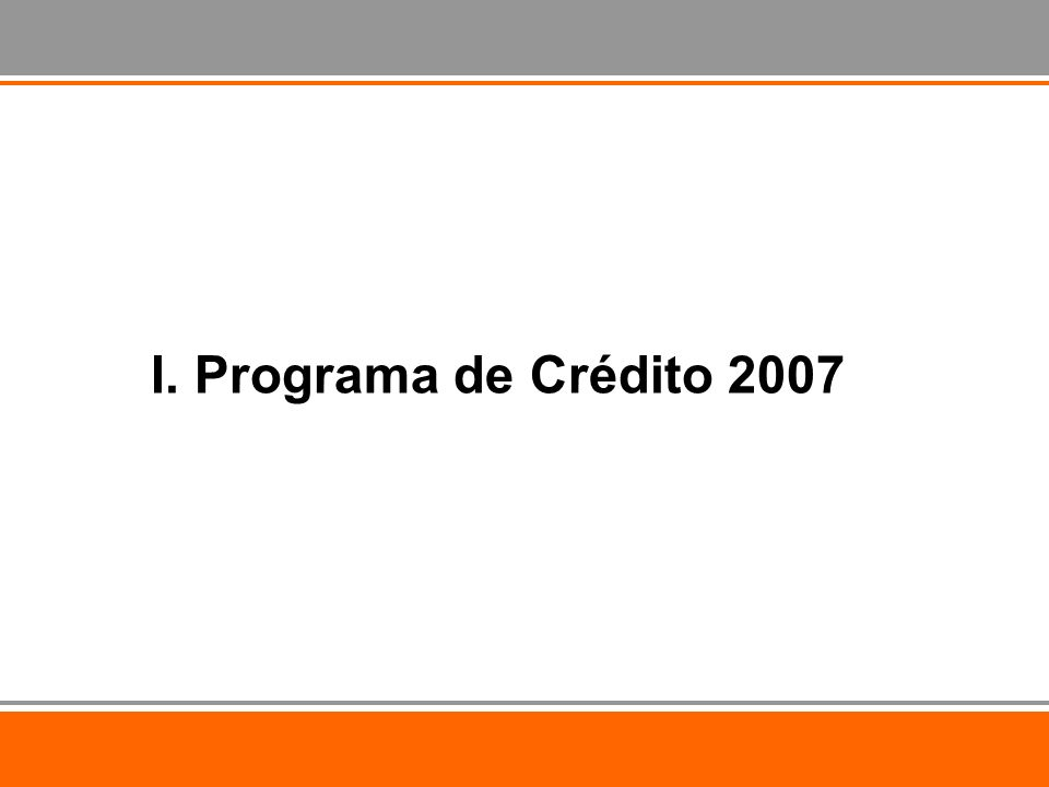 I. Programa de Crédito 2007