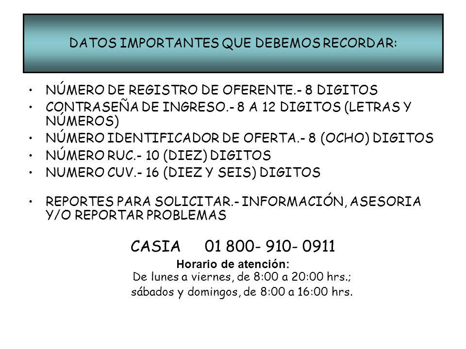 DATOS IMPORTANTES QUE DEBEMOS RECORDAR: NÚMERO DE REGISTRO DE OFERENTE.- 8 DIGITOS CONTRASEÑA DE INGRESO.- 8 A 12 DIGITOS (LETRAS Y NÚMEROS) NÚMERO ID