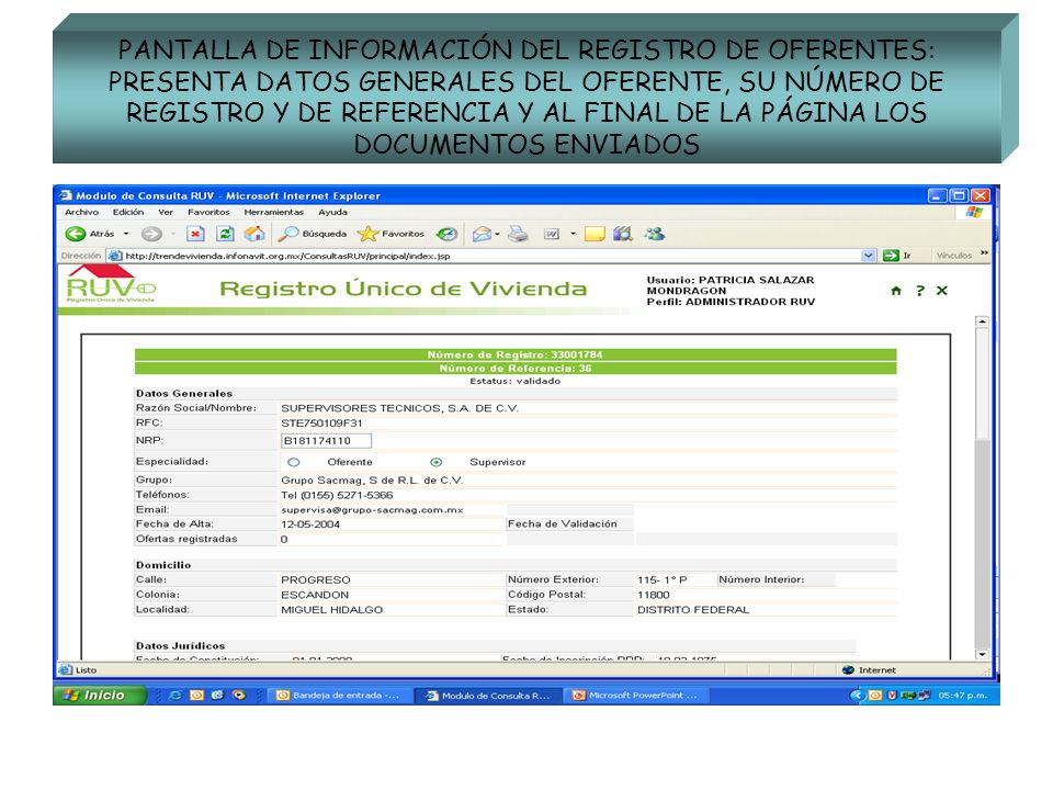 PANTALLA DE INFORMACIÓN DEL REGISTRO DE OFERENTES: PRESENTA DATOS GENERALES DEL OFERENTE, SU NÚMERO DE REGISTRO Y DE REFERENCIA Y AL FINAL DE LA PÁGIN