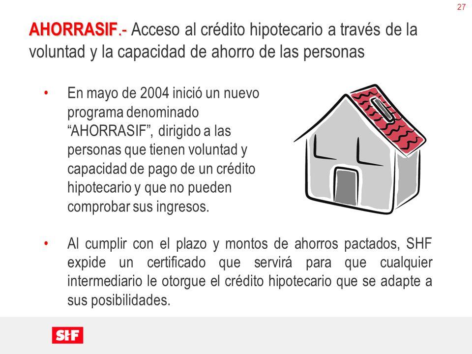 27 AHORRASIF.- AHORRASIF.- Acceso al crédito hipotecario a través de la voluntad y la capacidad de ahorro de las personas En mayo de 2004 inició un nu