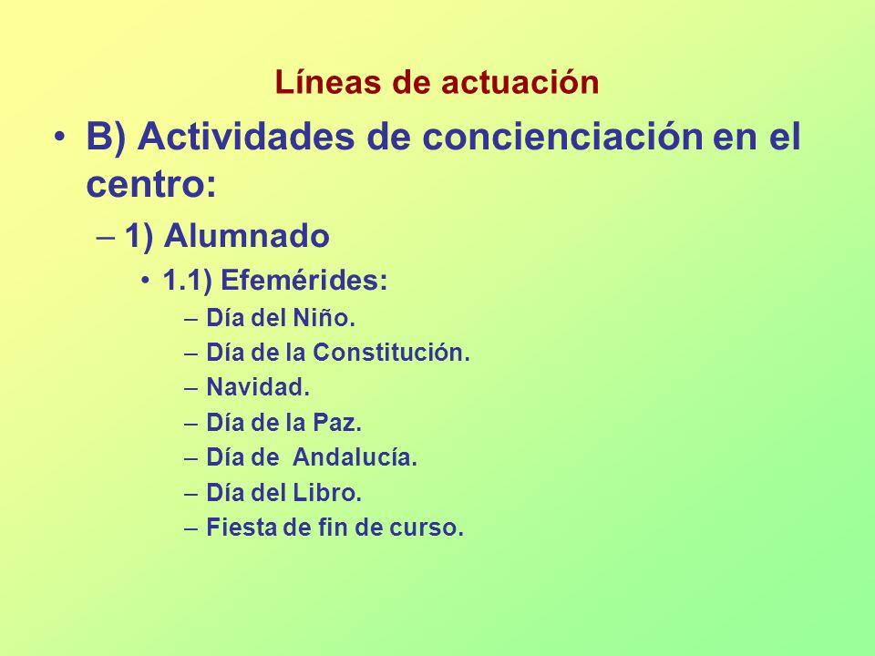 Líneas de actuación B) Actividades de concienciación en el centro: –1) Alumnado 1.1) Efemérides: –Día del Niño. –Día de la Constitución. –Navidad. –Dí