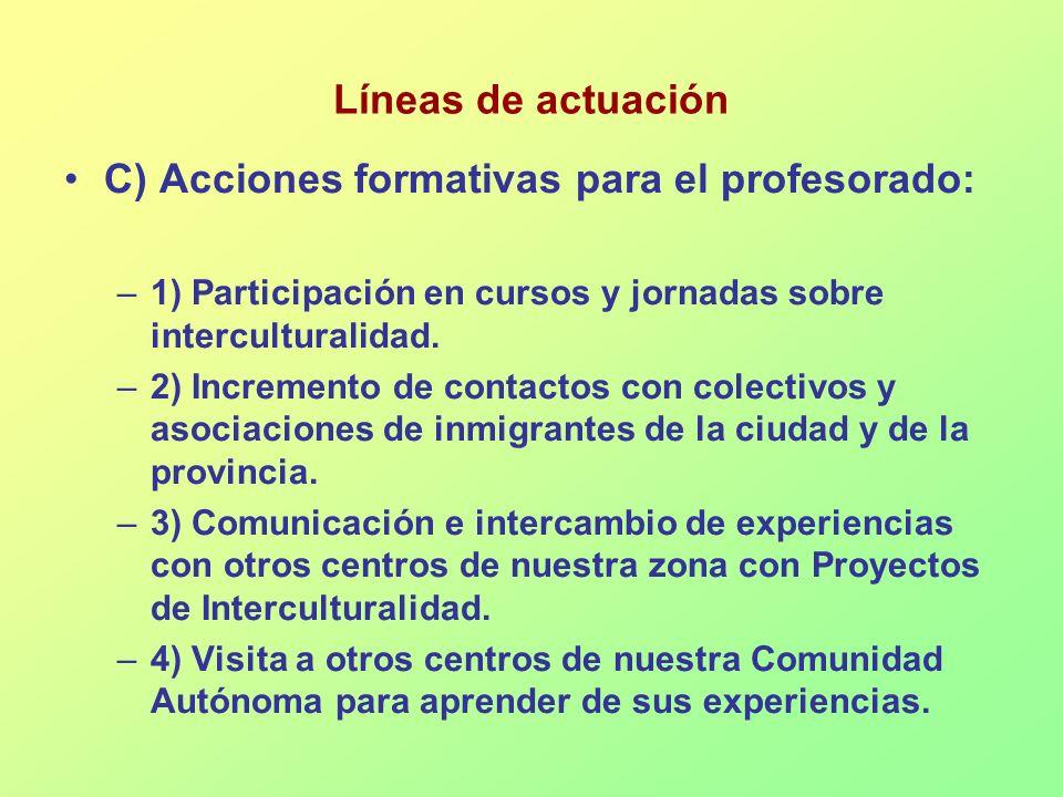 Líneas de actuación C) Acciones formativas para el profesorado: –1) Participación en cursos y jornadas sobre interculturalidad. –2) Incremento de cont