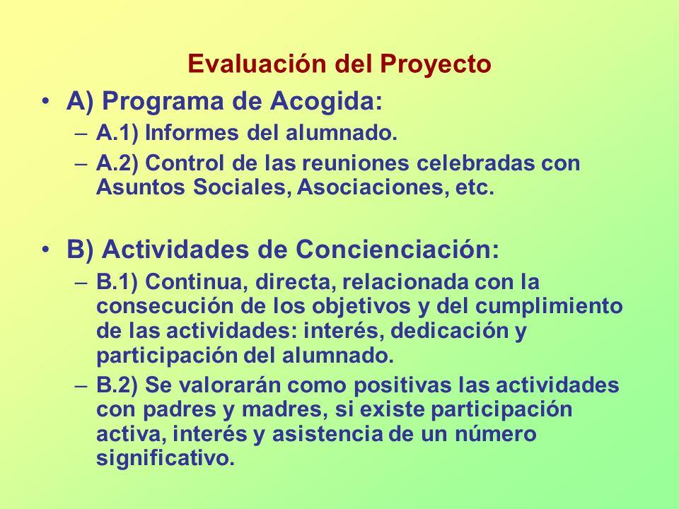 Evaluación del Proyecto A) Programa de Acogida: –A.1) Informes del alumnado. –A.2) Control de las reuniones celebradas con Asuntos Sociales, Asociacio