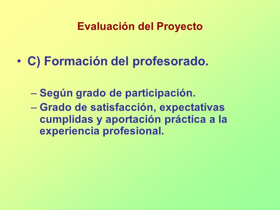 Evaluación del Proyecto C) Formación del profesorado. –Según grado de participación. –Grado de satisfacción, expectativas cumplidas y aportación práct