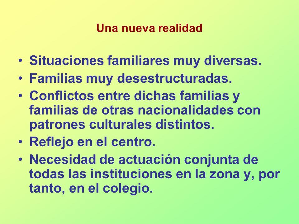 Situaciones familiares muy diversas. Familias muy desestructuradas. Conflictos entre dichas familias y familias de otras nacionalidades con patrones c