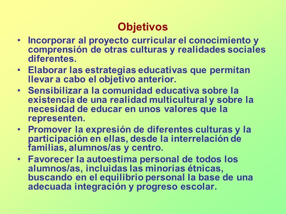 Objetivos Incorporar al proyecto curricular el conocimiento y comprensión de otras culturas y realidades sociales diferentes. Elaborar las estrategias