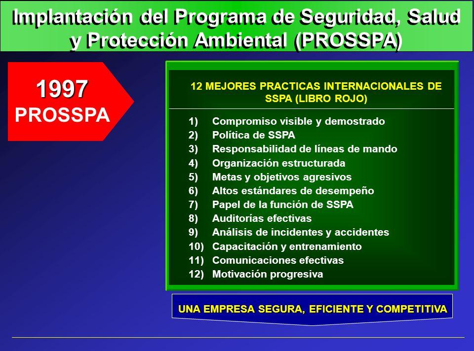 Implantación del Programa de Seguridad, Salud y Protección Ambiental (PROSSPA) 1997 PROSSPA 12 MEJORES PRACTICAS INTERNACIONALES DE SSPA (LIBRO ROJO)