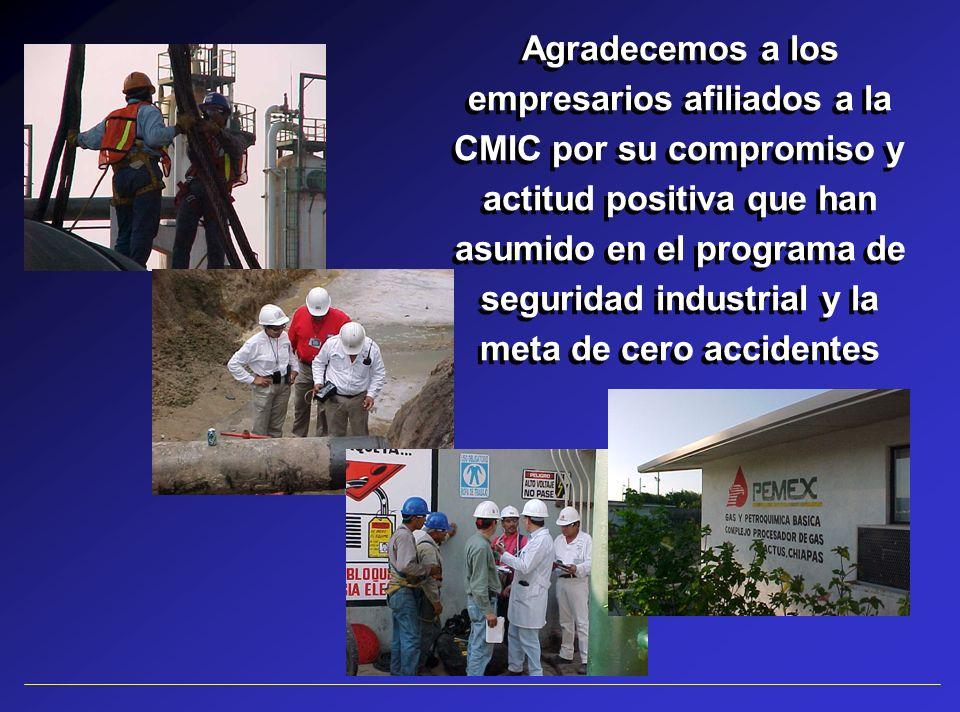 Agradecemos a los empresarios afiliados a la CMIC por su compromiso y actitud positiva que han asumido en el programa de seguridad industrial y la met
