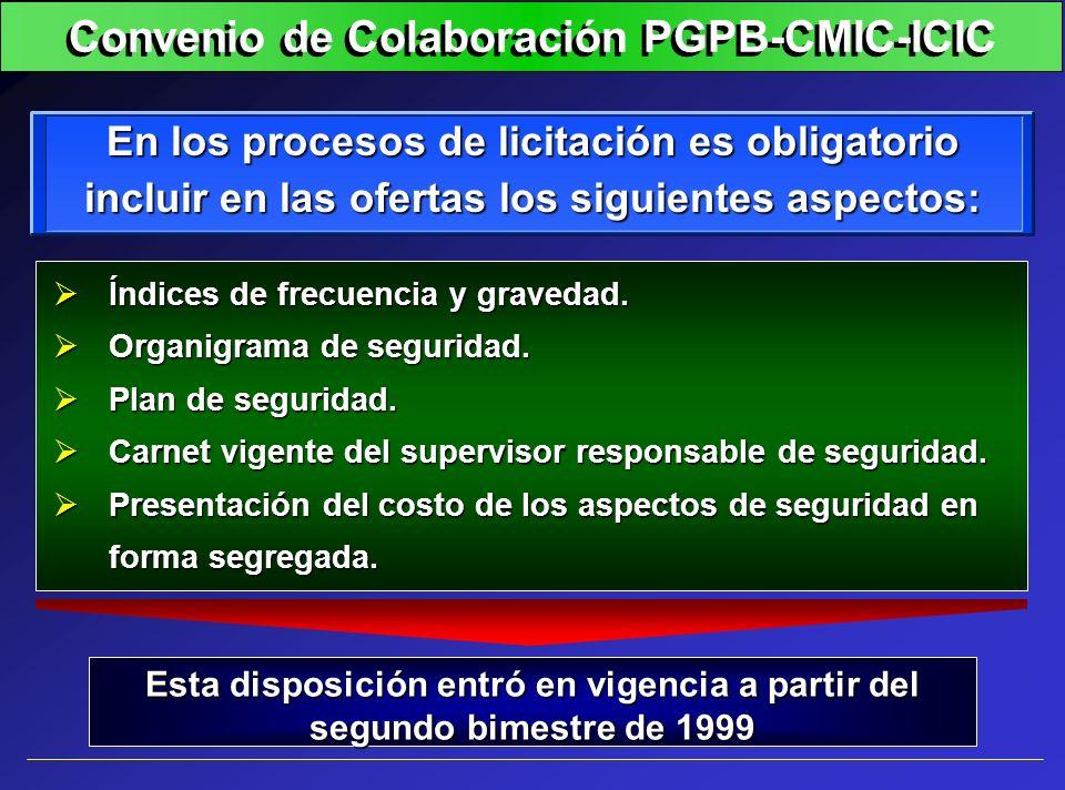 En los procesos de licitación es obligatorio incluir en las ofertas los siguientes aspectos: Índices de frecuencia y gravedad. Índices de frecuencia y