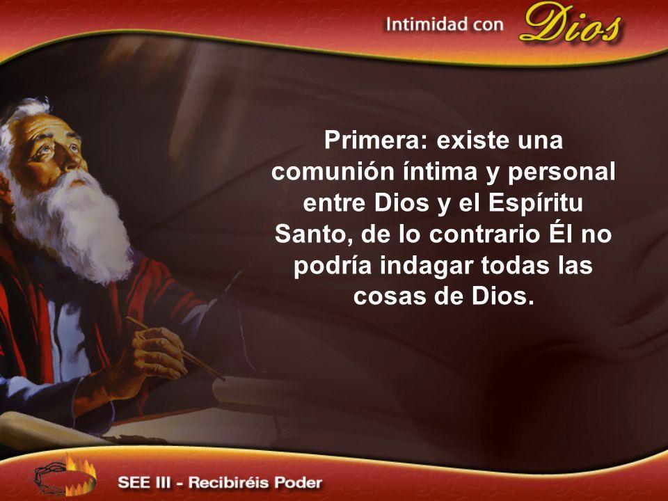 Primera: existe una comunión íntima y personal entre Dios y el Espíritu Santo, de lo contrario Él no podría indagar todas las cosas de Dios.