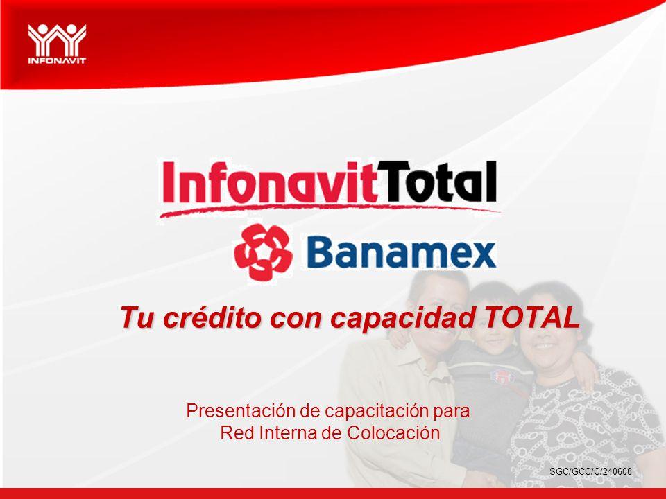 Beneficios de Infonavit Total El derechohabiente de Infonavit utiliza toda su capacidad de crédito a través del Instituto, con el apoyo de Banamex.