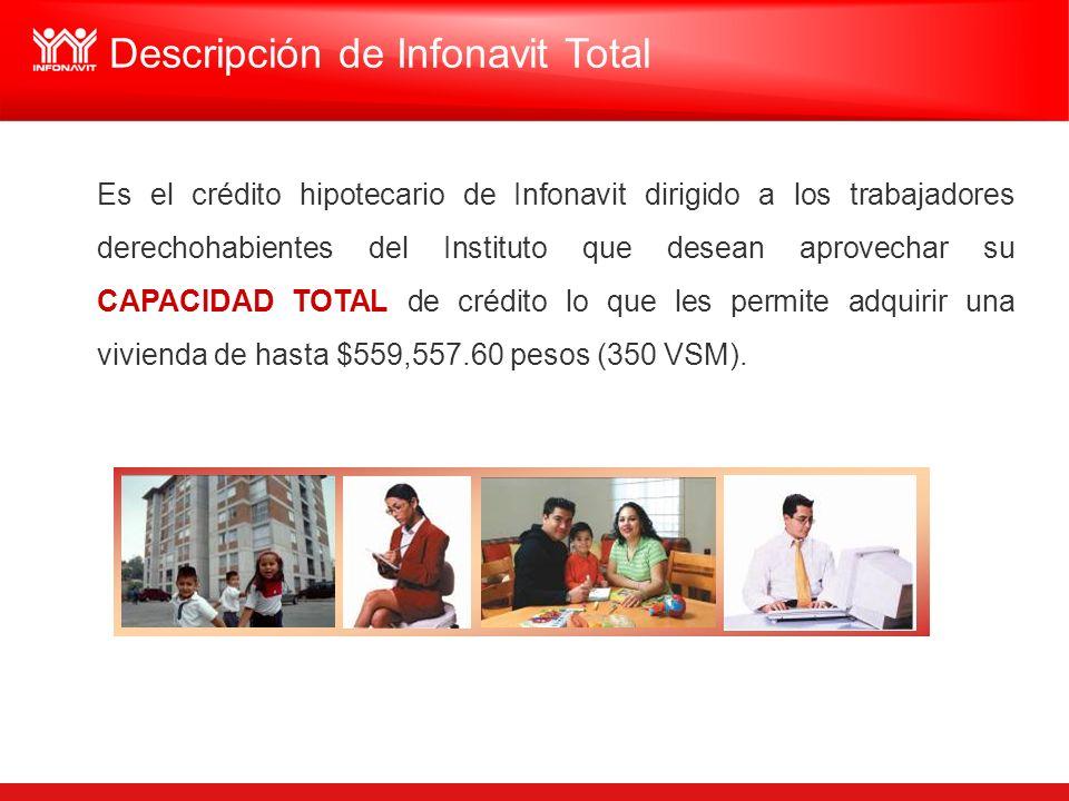 Descripción de Infonavit Total Es el crédito hipotecario de Infonavit dirigido a los trabajadores derechohabientes del Instituto que desean aprovechar