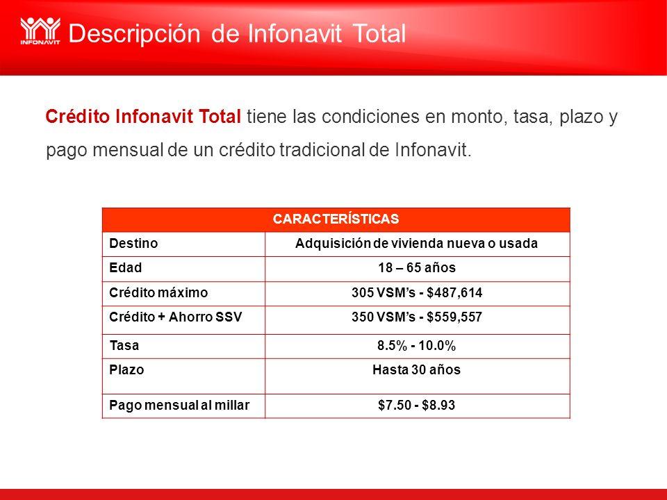 Crédito Infonavit Total tiene las condiciones en monto, tasa, plazo y pago mensual de un crédito tradicional de Infonavit. Descripción de Infonavit To