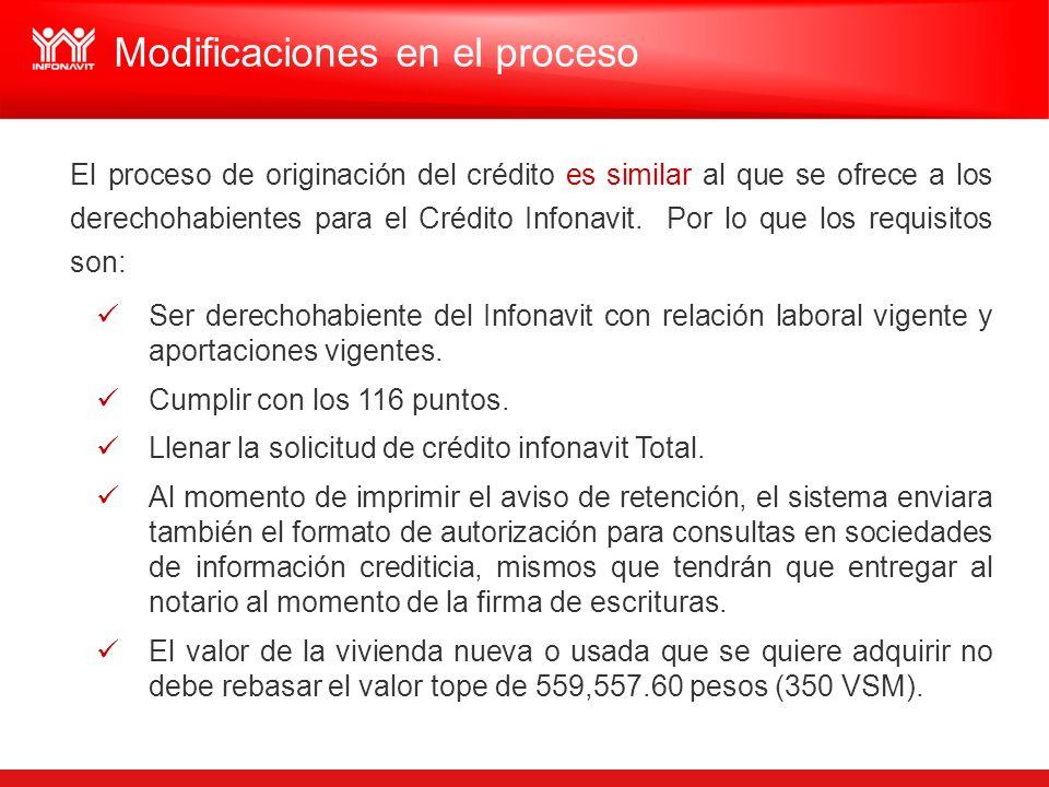 El proceso de originación del crédito es similar al que se ofrece a los derechohabientes para el Crédito Infonavit. Por lo que los requisitos son: Ser