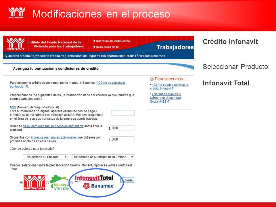 Crédito Infonavit Seleccionar Producto: Infonavit Total. Modificaciones en el proceso