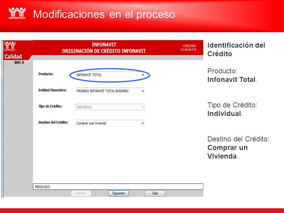 Identificación del Crédito Producto: Infonavit Total. Tipo de Crédito: Individual. Destino del Crédito: Comprar un Vivienda. Modificaciones en el proc