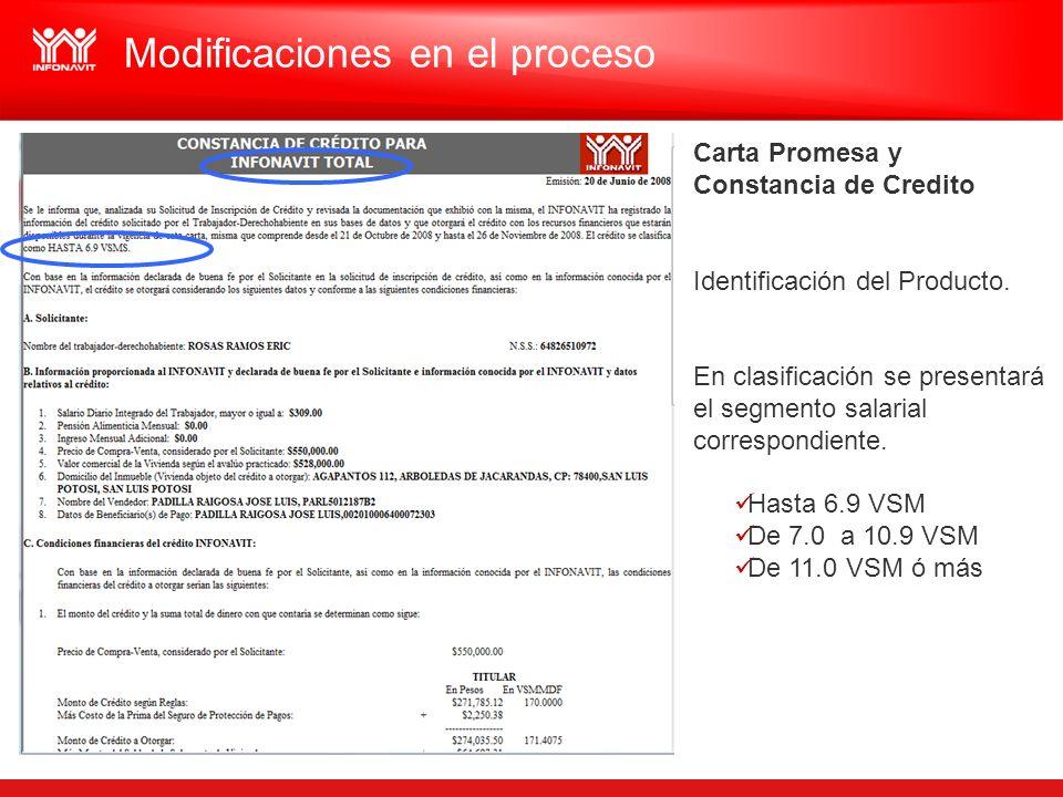 Carta Promesa y Constancia de Credito Identificación del Producto. En clasificación se presentará el segmento salarial correspondiente. Hasta 6.9 VSM