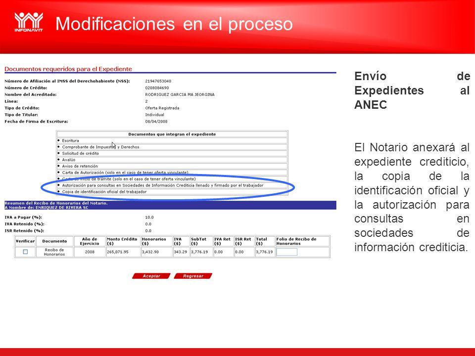 Envío de Expedientes al ANEC El Notario anexará al expediente crediticio, la copia de la identificación oficial y la autorización para consultas en so