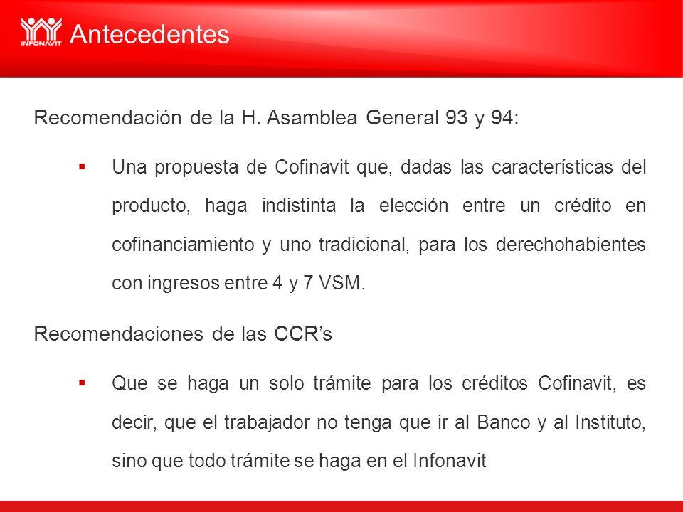 Recomendación de la H. Asamblea General 93 y 94: Una propuesta de Cofinavit que, dadas las características del producto, haga indistinta la elección e