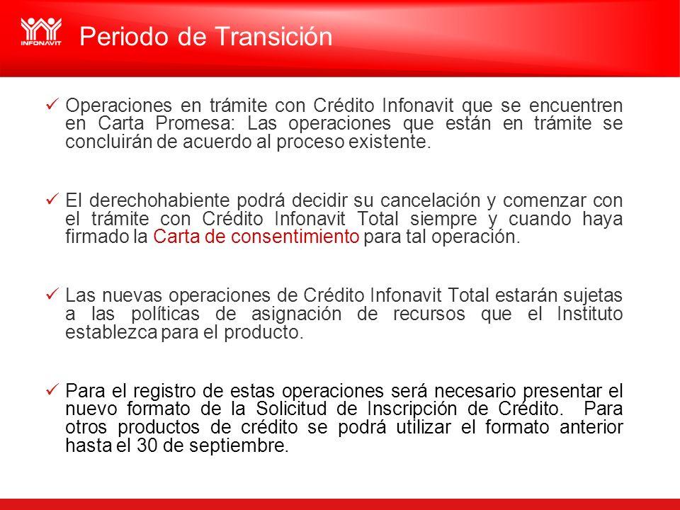 Operaciones en trámite con Crédito Infonavit que se encuentren en Carta Promesa: Las operaciones que están en trámite se concluirán de acuerdo al proc
