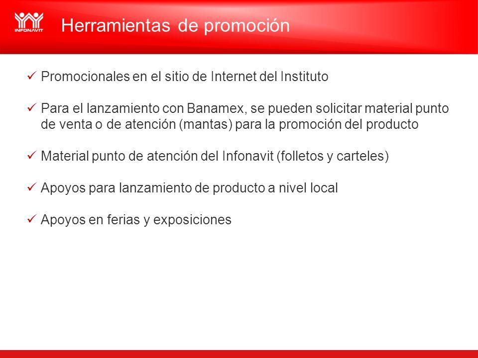 Herramientas de promoción Promocionales en el sitio de Internet del Instituto Para el lanzamiento con Banamex, se pueden solicitar material punto de v