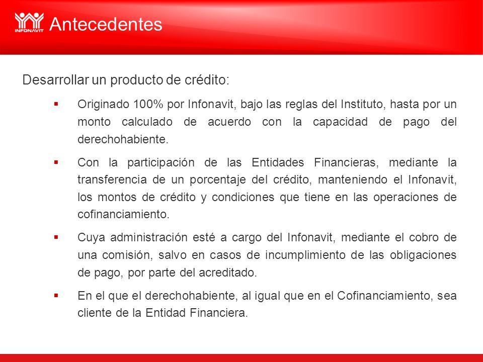 Desarrollar un producto de crédito: Originado 100% por Infonavit, bajo las reglas del Instituto, hasta por un monto calculado de acuerdo con la capaci