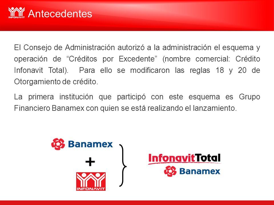 El Consejo de Administración autorizó a la administración el esquema y operación de Créditos por Excedente (nombre comercial: Crédito Infonavit Total)