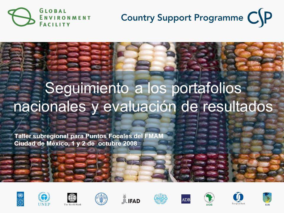 Seguimiento a los portafolios nacionales y evaluación de resultados Taller subregional para Puntos Focales del FMAM Ciudad de México, 1 y 2 de octubre