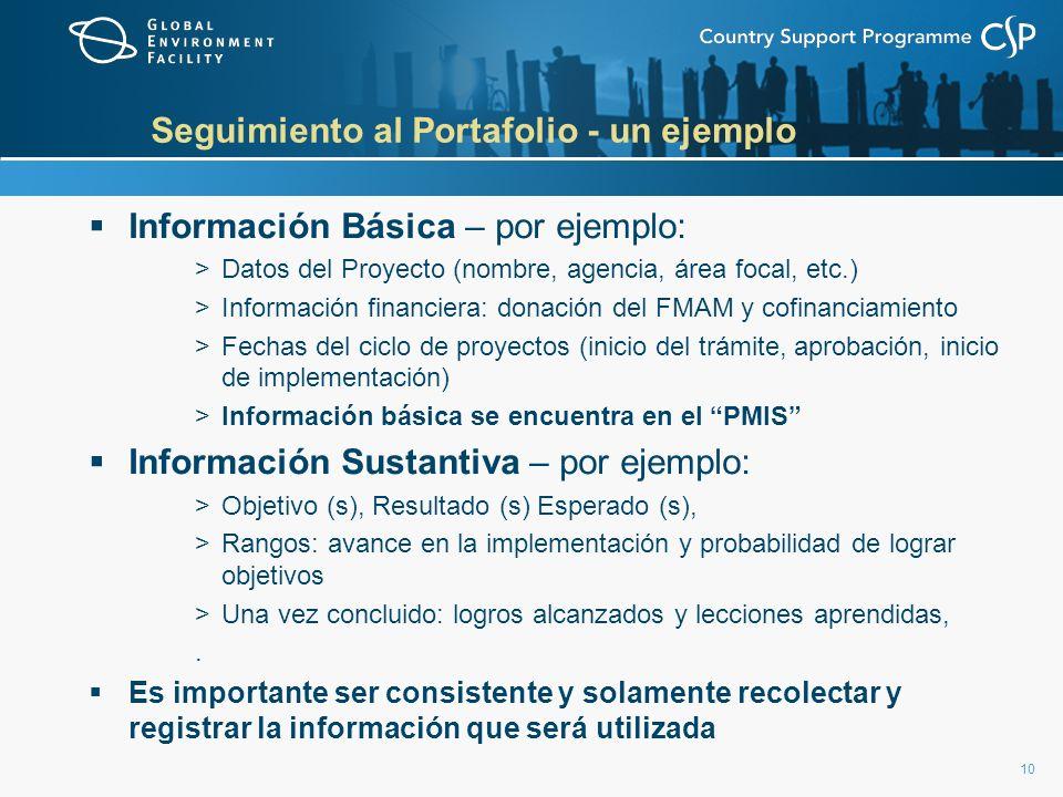 10 Seguimiento al Portafolio - un ejemplo Información Básica – por ejemplo: >Datos del Proyecto (nombre, agencia, área focal, etc.) >Información finan