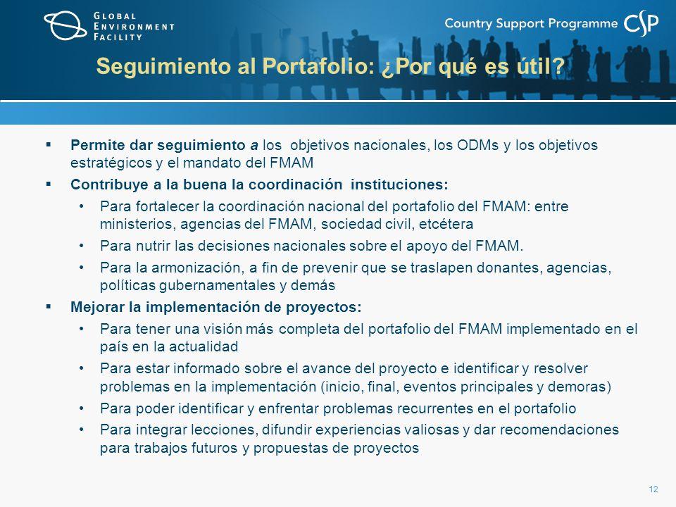 12 Seguimiento al Portafolio: ¿Por qué es útil? Permite dar seguimiento a los objetivos nacionales, los ODMs y los objetivos estratégicos y el mandato